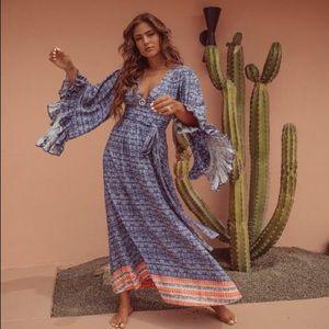 Vici Khaleesi Ruffle Kimono Maxi Dress